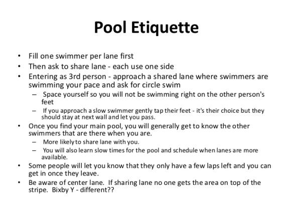 Swim Etiquitte
